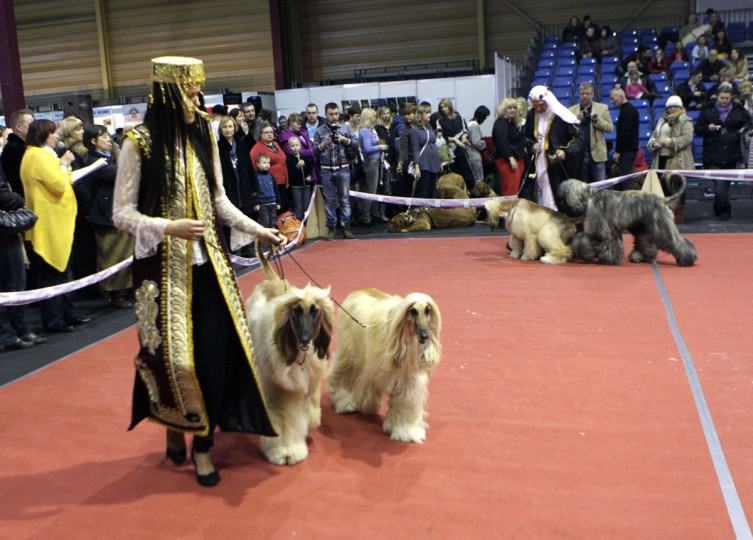 "People dressed in traditional Afghan dress walk in the ring with their Afghan Hound dogs during the international ""Pet Expo"" show in Riga, Latvia. (Ints Kalnins/Reuters)"
