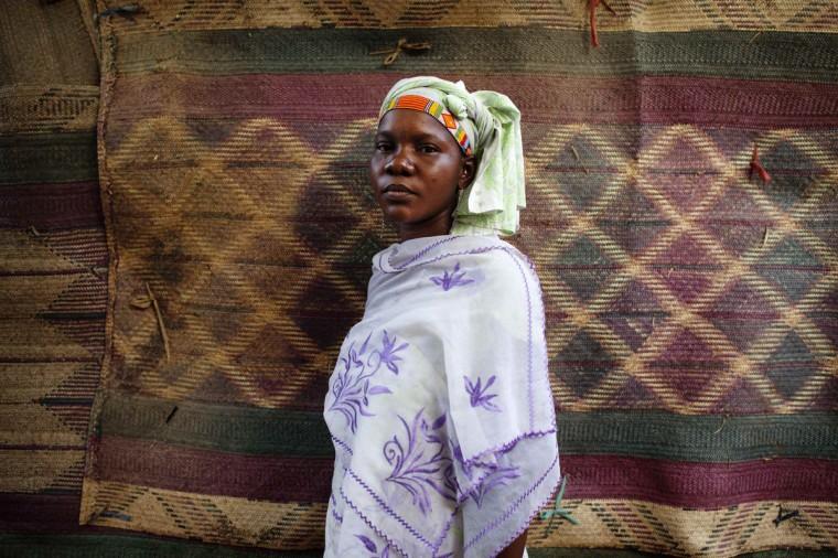 Fady Diarra, 25, wears a traditional Songhai beaded head wrap in Gao, Mali, March 6, 2013. (Joe Penney/Reuters)