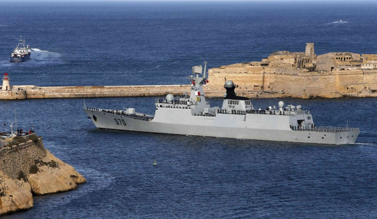 The Chinese Navy frigate Huangshan leaves Valletta's Grand Harbour in Malta on March 30, 2013. A Chinese naval task force concluded a courtesy visit to Malta on Saturday, after concluding a four-month anti-piracy mission in the Gulf of Aden, providing security escort to civilian and commercial vessels, according to local media. (Darrin Zammit Lupi/Reuters)