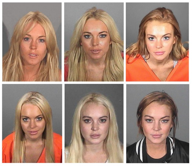 Actress Lindsay Lohan is shown in various booking photos provided by law enforcement agencies from over the years for her brushes with the law. (Top L to R) July 24, 2007, November. 15, 2007, July 20, 2010. (Bottom L to R) September 24, 2010, October 19, 2011 and March 19, 2013. Handout file photos/via Reuters)