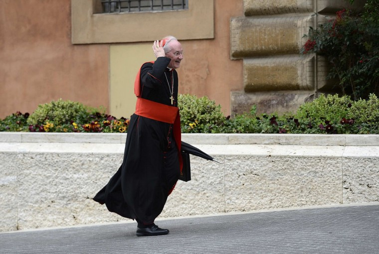 Cardinal Marc Ouellet arrives for a meeting in the Synod Hall at the Vatican on March 8, 2013. Cardinals will convene for a conclave to select a new pope on Tuesday, March 12. (Dylan Martinez/Reuters)
