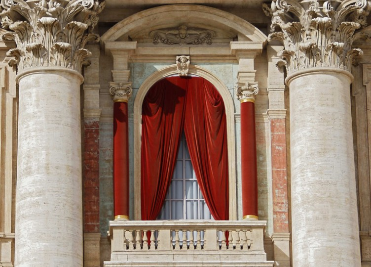 "The red curtain on the central balcony, called the Loggia of the Blessings of Saint Peter's Basilica, where the new pope will appear after being elected in the conclave is seen at the Vatican March 12, 2013. Roman Catholic cardinals gather under the gaze of Michelangelo's ""Last Judgment"" on Tuesday to elect a new pope to tackle the daunting problems facing the 1.2-billion-member Church at one of the most difficult periods in its history. (Eric Gaillard/Reuters)"
