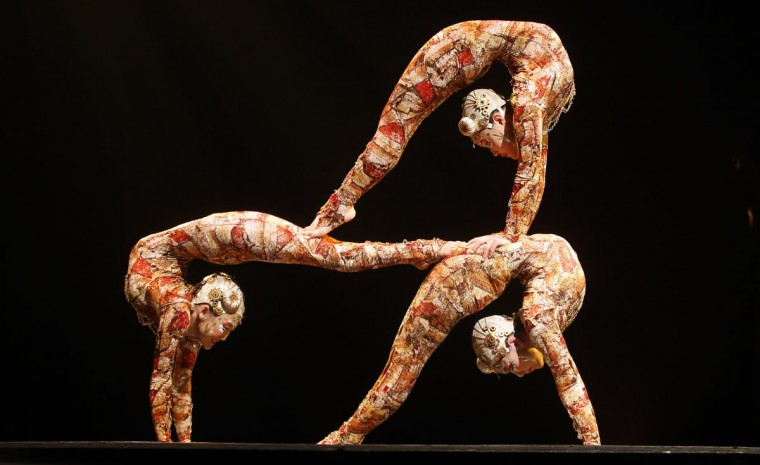 Contortion artists perform during the Cirque du Soleil's Kooza show in Madrid February 28, 2013. Picture taken February 28, 2013. (Sergio Perez/Reuters)