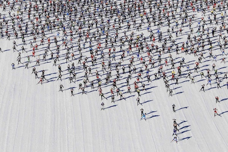 Cross-country skiers start during the Engadin Ski Marathon on the frozen Lake Sils near the village of Maloja March 10, 2013. More than 12,000 skiers participated in the 26.2 miles race between Maloja and S-chanf near the Swiss mountain resort of St. Moritz. (Michael Buholzer/Reuters)