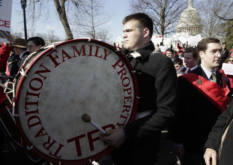 Supporters of traditional marriage demonstrate in front of the Supreme Court in Washington March 26, 2013. (Joshua Roberts/Reuters)