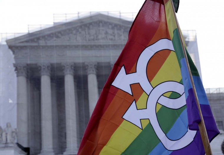A protester raises a flag outside of the U.S. Supreme Court in Washington, March 26, 2013. (Joshua Roberts/Reuters)