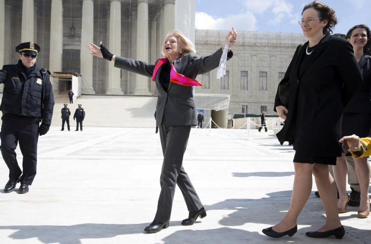 Edie Windsor, plaintiff in the hearing against the Defense of Marriage Act, celebrates after arguments outside the Supreme Court in Washington. The Supreme Court is hearing the second of two days of arguments on the legality of gay marriage. (Joshua Roberts/Reuters)