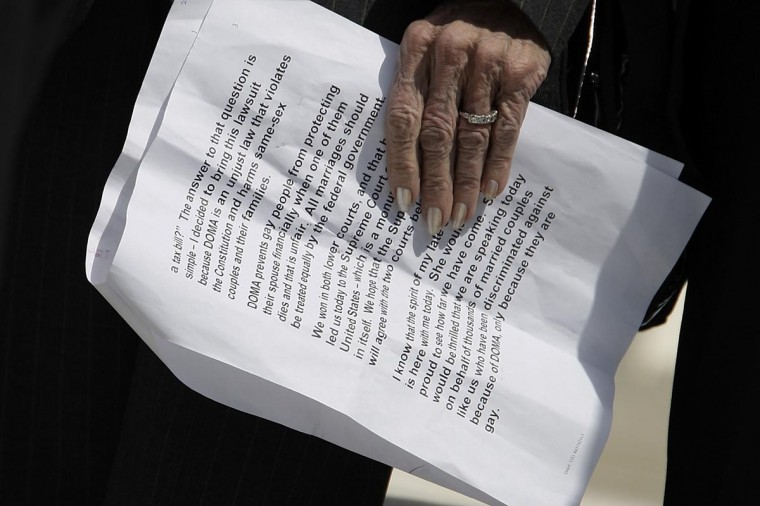 Plaintiff Edith Windsor holds her notes before talking to reporters outside after arguments in her case against the Defense of Marriage Act at the U.S. Supreme Court in Washington, March 27, 2013. (Jonathan Ernst/Reuters)