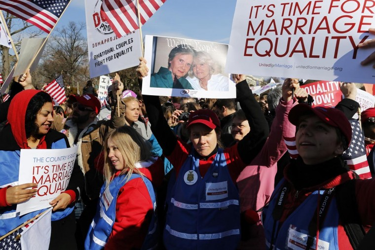 Protestors rally against the Defense of Marriage Act in front of the U.S. Supreme Court in Washington, March 27, 2013. (Jonathan Ernst/Reuters)
