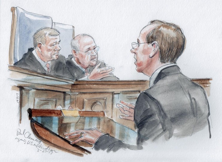 Attorney Paul Clement (R) argues in front of U.S. Supreme Court Chief Justice John Roberts (L) and Associate Justice Anthony Kennedy about the constitutionality of the Defense of Marriage Act (DOMA) in Washington, in this courtroom drawing released on March 27, 2013. Justices on Wednesday indicated interest in striking down the law that denies federal benefits to legally married same-sex couples. (Art Lien/Handout via Reuters)