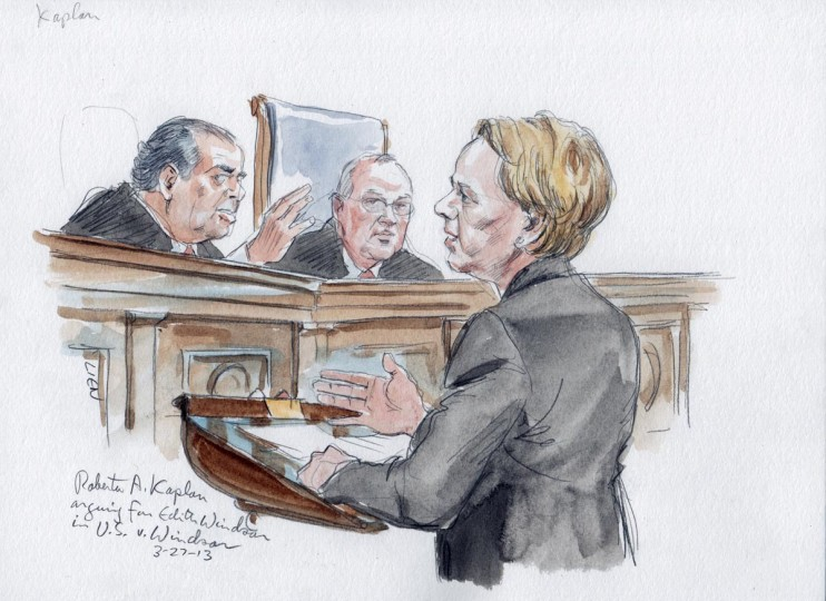 Attorney Roberta Kaplan argues on behalf of Edith Windsor in front of U.S. Supreme Court justices about the constitutionality of the Defense of Marriage Act (DOMA) in Washington, in this courtroom drawing released on March 27, 2013. (Art Lien/Handout via Reuters)