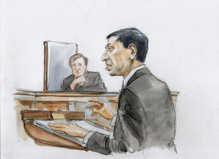 Principal Deputy Solicitor General Sri Srinivasan (R) argues in front of the U.S. Supreme Court, including Associate Justice Elena Kagan (L), about the constitutionality of the Defense of Marriage Act (DOMA) in Washington, in this courtroom drawing released on March 27, 2013. (Art Lien/Handout via Reuters)