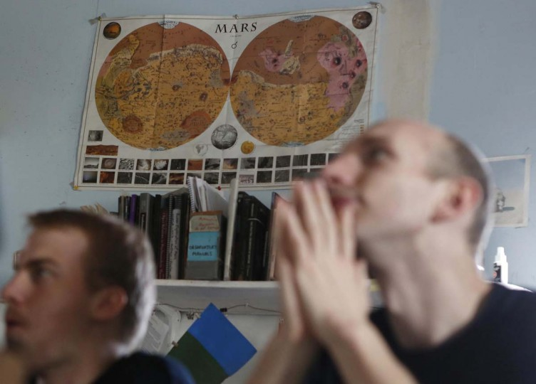 A vintage map of Mars hangs on the wall at the Mars Desert Research Station (MDRS) outside Hanksville in the Utah desert March 2, 2013. Scientists, students and enthusiasts work together developing field tactics and studying the terrain. (Jim Urquhart/Reuters)