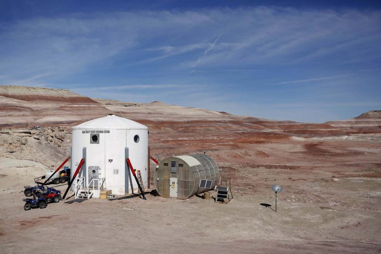 The Mars Desert Research Station (MDRS) is seen in the Utah desert March 2, 2013. The MDRS aims to investigate the possibility of a human exploration of Mars and takes advantage of the Utah desert's Mars-like terrain to simulate working conditions on the red planet.(Jim Urquhart/Reuters)