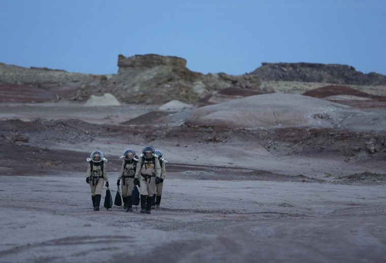 Members of Crew 125 EuroMoonMars B mission return after collecting geologic samples for study at the Mars Desert Research Station (MDRS) in the Utah desert March 2, 2013. (Jim Urquhart/Reuters)