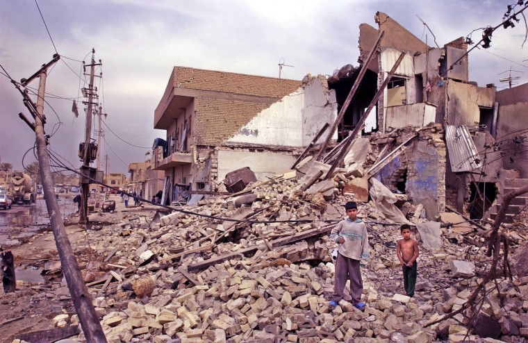 4/13/03 -- This home was completely destoyed in a blast from a U.S. bomb April 4th that also killed one man inside and at least two in a passing car in the Alef Dar section of Baghdad. (Elizabeth Malby/Baltimore Sun)