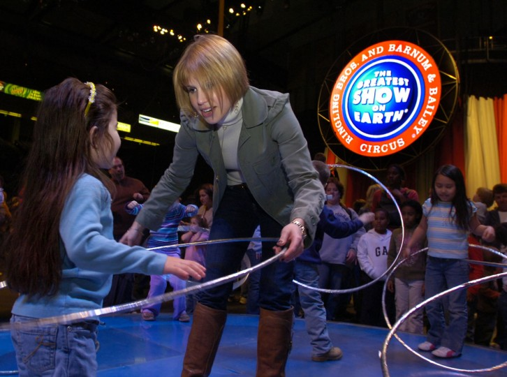 March 8, 2007: Nicole Feld is the third generation of the Feld family to run Ringling Bros, Barnum & Bailey circus.She's showing Jessica Argueta, 4, Owings Mills,how to use the hula hoop. The Feld family has owned the circus longer than Ringling, Barnum and Bailey. Feld is the first woman to oversee it. (Algerina Perna/Baltimore Sun)