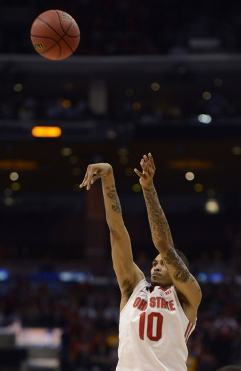 Ohio State forward LaQuinton Ross (10) makes the game-winning basket during the second half of the semifinals of the West regional of the 2013 NCAA tournament against the Arizona Wildcats in Los Angeles. (Richard Mackson/USA TODAY Sports)