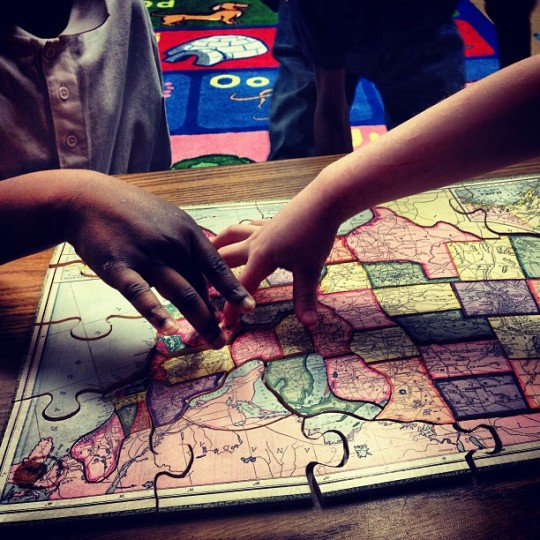 Mrs. Lloyd's first and second grade class is learning the states this morning at Carter G. Woodson Elementary. (Olivia Hubert-Allen/Baltimore Sun Staff)