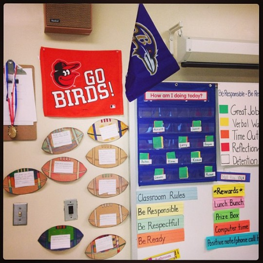 Just put up my Go Birds towel next to the Ravens flag in my classroom! (Photo by vikvolk)