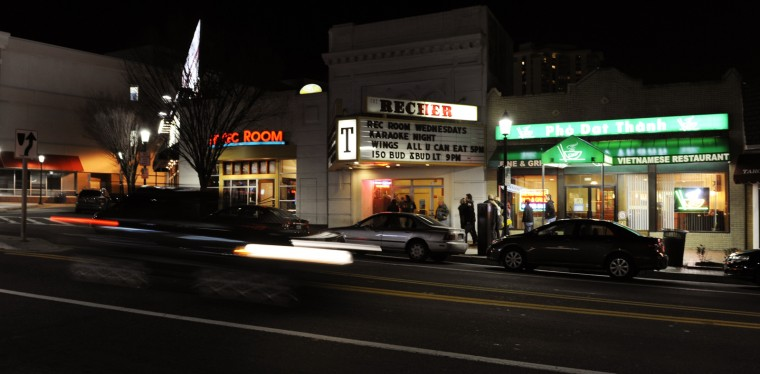 Cars zip by the Recher Theatre on Saturay night before headliner Cinder Road takes the stage. The theatre will be closed for possibly several months while it is remodeled as a bar and club. (Jon Sham/BSMG)