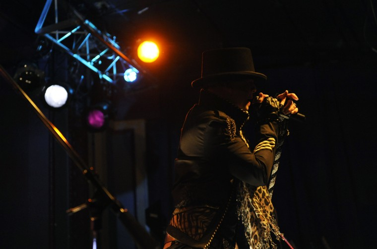 Nightsbridge lead singer Mickey Valentine sings a song during the band's act at the Recher. (Jon Sham/BSMG)