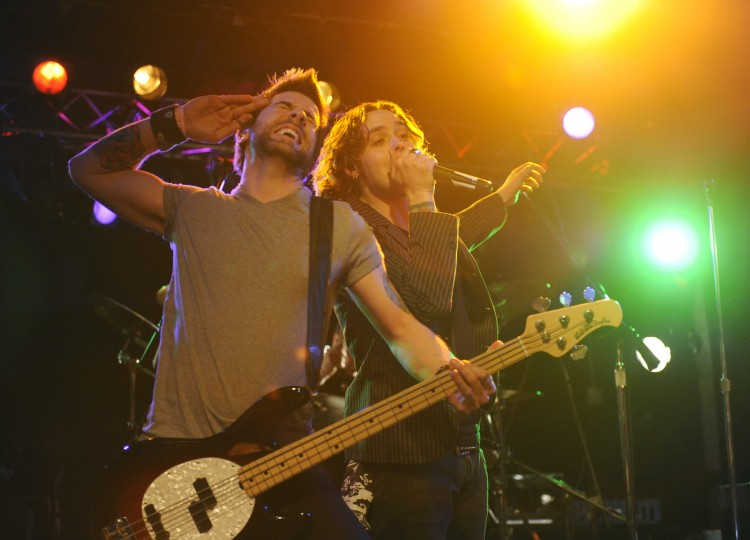 Cinder Road lead singer Mike Ruocco, right, performs with the bassist Nat Doegen at the Recher Theatre. (Jon Sham/BSMG)