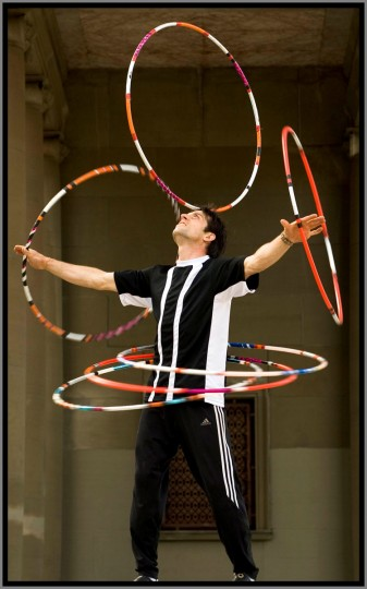 """March 7, 2012: Paul """"Dizzy Hips"""" Blair seen here in a publicity shot, will compete against Andreas """"Spilly"""" Spiliadis in a hula-hoop competition to be taped by a leading Italian television station. (Patuxent Publishing)"""