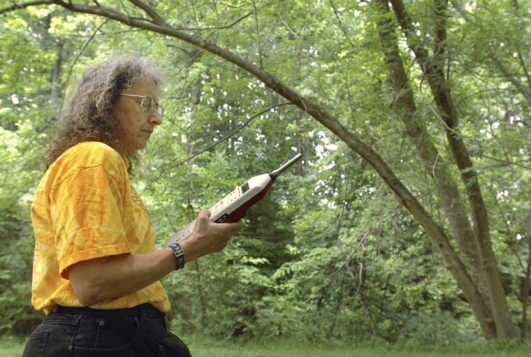Maryland Department of Agriculture entomologist Gaye Williams takes sound level readings of cicadas near her agency's building in Annapolis. (David Hobby, The Baltimore Sun)