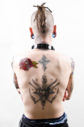 J.T. Ryan, 25, Glen Bernie, MD at the Baltimore Tattoo Arts Convention in the Inner Harbor. (Josh Sisk/Special To The Baltimore Sun)