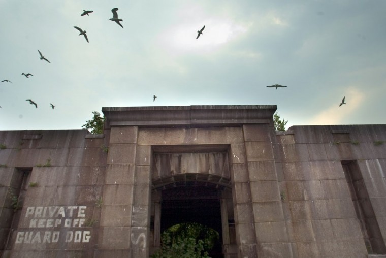 Birds fly over the east entrance to Fort Carroll in 2004. (Chris Detrick, The Baltimore Sun)