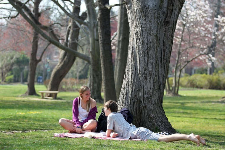 Abby O'Leary, left, 14, and Nathan Kahla, right, 17, both of Towson have a picnic at Sherwood Gardens in Baltimore, MD on Saturday, March 17, 2012. (Jen Rynda, The Baltimore Sun Media Group)