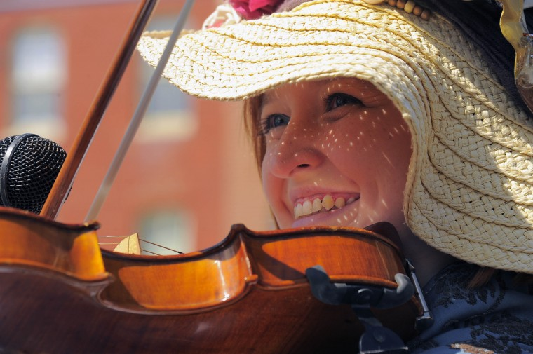Ellen Cattle, part of the group Pyrates Royale of the Baltimore/Annapolis area plays violin during the 2013 Privateer Festival at Fells Point Saturday, Apr. 20, 2013. (Karl Merton Ferron/Baltimore Sun Staff)