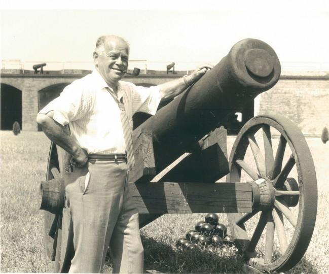 Ben Eisenberg, whose family owns the island, poses for a photograph on Fort Carroll in 1961. (Robert F. Kniesche, The Baltimore Sun)