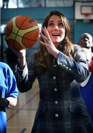 Catherine, Countess of Strathearn plays basketball at the Donald Dewer Leisure centre on April 4, 2013 in Glasgow, Scotland. The Emirates Arena will play host to several events at the 2014 Glasgow Commonwealth Games. (David Cheskin/Getty Images)