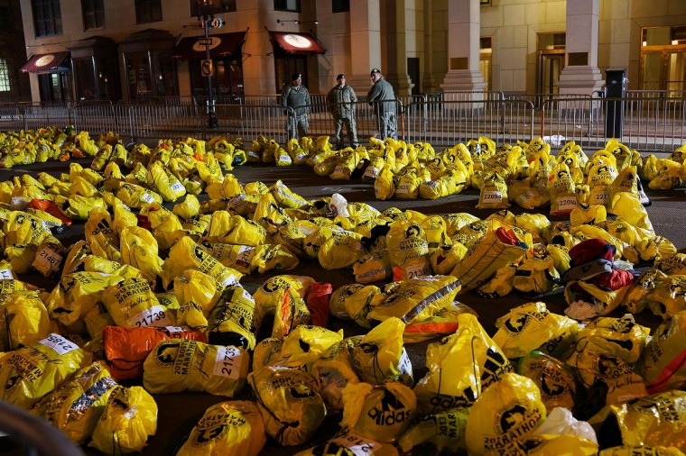 Unclaimed finish line bags are viewed near the scene of a twin bombing at the Boston Marathon, on April 16, 2013 in Boston, Massachusetts. Three people are confirmed dead and at least 141 injured after the explosions went off near the finish line of the marathon yesterday. The bombings at the 116-year-old Boston race, resulted in heightened security across the nation with cancellations of many professional sporting events as authorities search for a motive to the violence. (Spencer Platt/Getty Images)