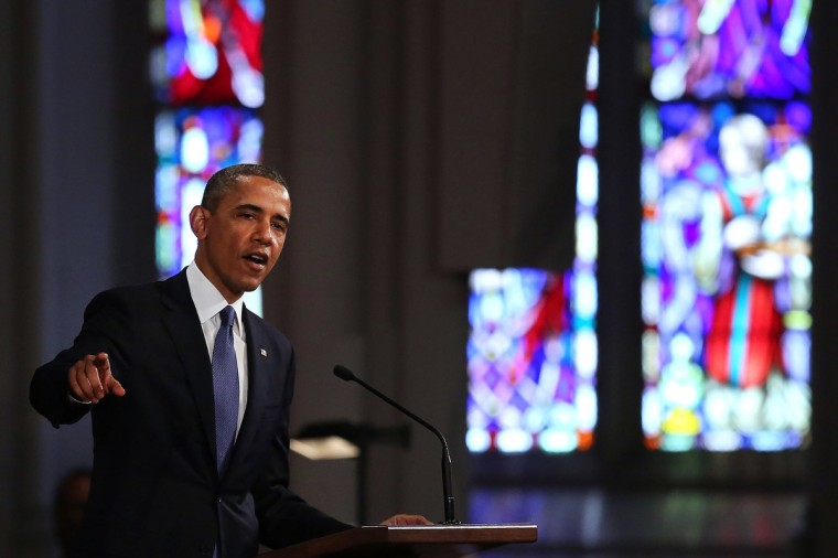 "President Barack Obama speaks at an interfaith prayer service for victims of the Boston Marathon attack titled ""Healing Our City,"" at the Cathedral of the Holy Cross on April 18, 2013 in Boston, Massachusetts. (Spencer Platt/Getty Images)"