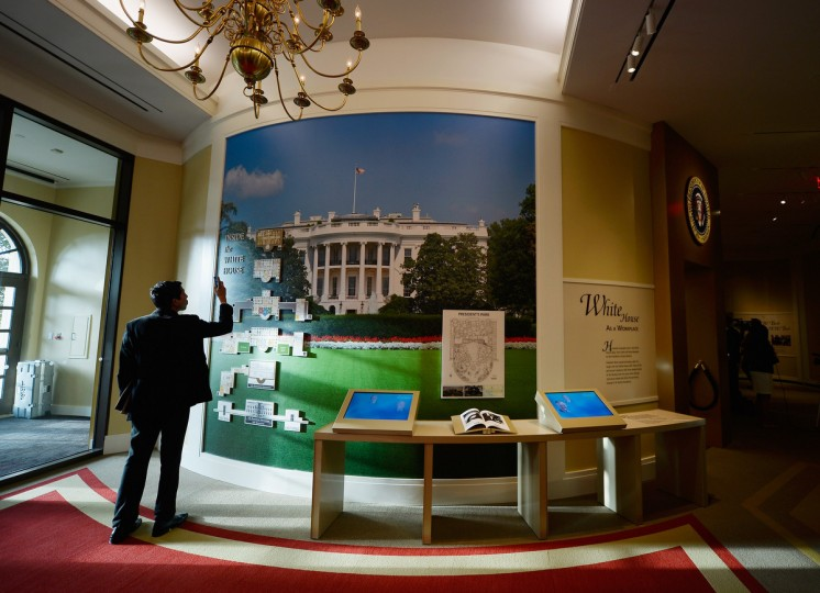 A display on the White House Workplace is seen at the George W. Bush Presidential Center on the campus of Southern Methodist University on April 24, 2013 in Dallas, Texas. Dedication of the George W. Bush Presidential Library is to take place on April 25 with all five living U.S. Presidents in attendance. (Kevork Djansezian/Getty Images)