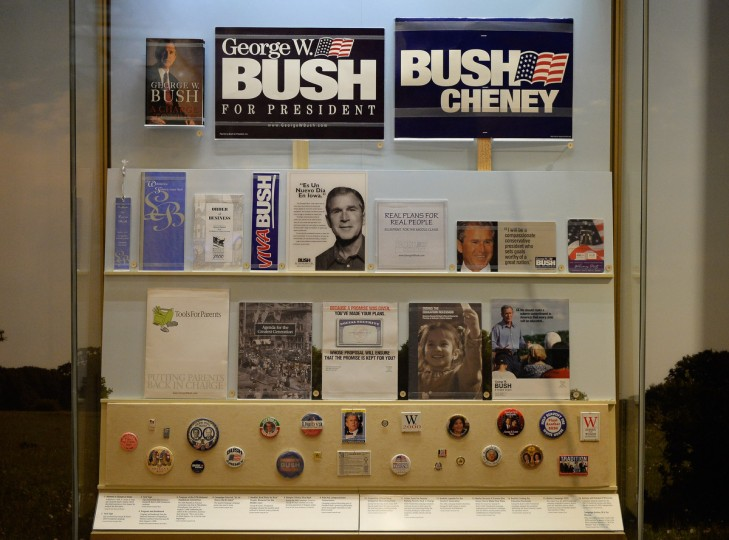 A display of presidential campaign memorabilia is seen at the George W. Bush Presidential Center on the campus of Southern Methodist University i seen on April 24, 2013 in Dallas, Texas. Dedication of the George W. Bush Presidential Library is to take place on April 25 with all five living U.S. Presidents in attendance and an expected 8,000 invitation-only guests. (Kevork Djansezian/Getty Images)