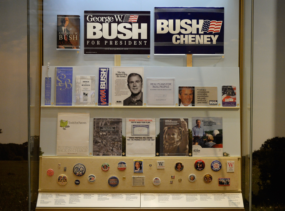george w bush presidential center is dedicated in dallas a display of presidential campaign memorabilia is seen at the george w bush presidential center on the campus of southern methodist university i seen on