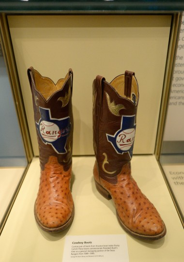 Boots commemorating George W. Bush's tenure as general managing partner of the Texas Rangers baseball team are displayed at the George W. Bush Presidential Center. (Kevork Djansezian/Getty Images)