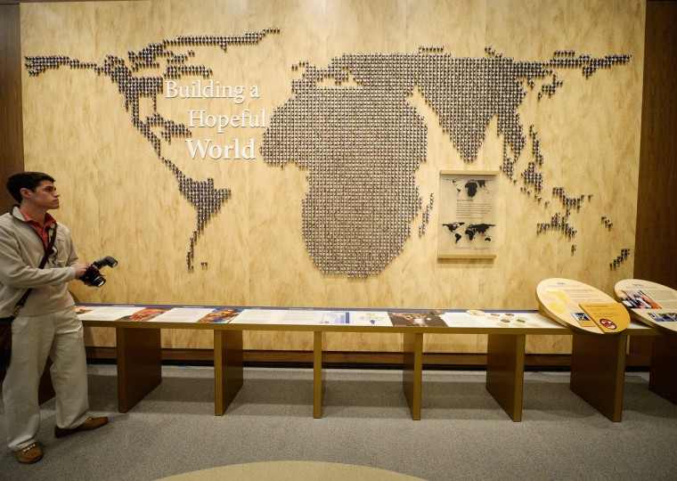 A display on Building a Hopeful People is seen at the George W. Bush Presidential Center. (Kevork Djansezian/Getty Images)