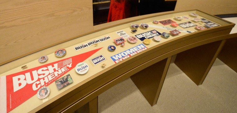 A display of presidential campaign memorabilia is seen at the George W. Bush Presidential Center. (Kevork Djansezian/Getty Images)