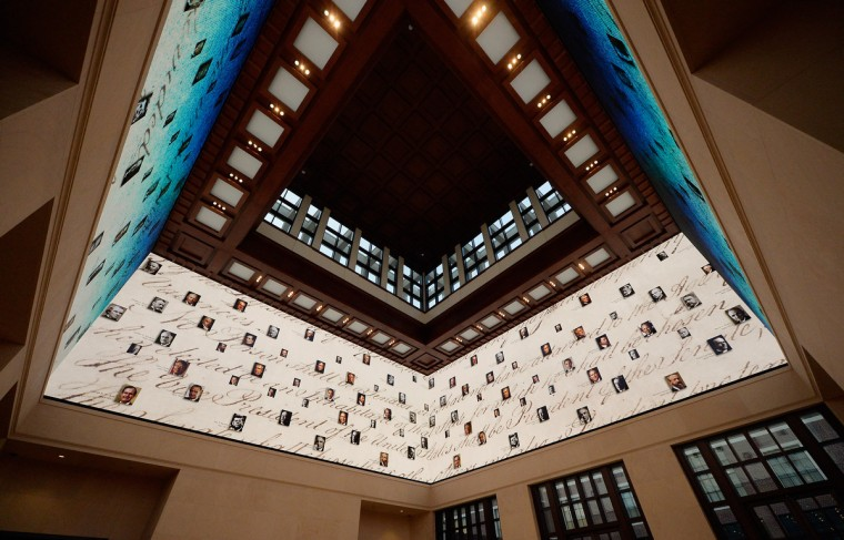The 360-degree LED high definition video wall inside the Freedom Hall is seen at the George W. Bush Presidential Center on the campus of Southern Methodist University. (Kevork Djansezian/Getty Images)