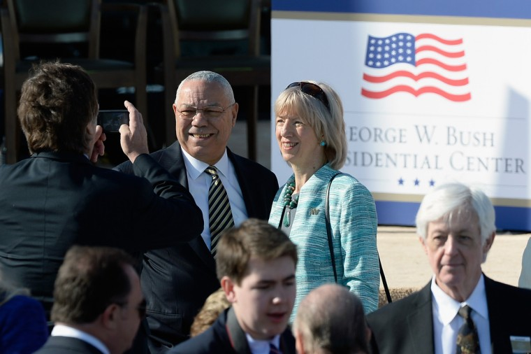 Former U.S. Secretary of State Colin Powell (L) attends the opening ceremony of the George W. Bush Presidential Center April 25, 2013 in Dallas, Texas. The Bush library, which is located on the campus of Southern Methodist University, with more than 70 million pages of paper records, 43,000 artifacts, 200 million emails and four million digital photographs, will be opened to the public on May 1, 2013. The library is the 13th presidential library in the National Archives and Records Administration system. (Kevork Djansezian/Getty Images)