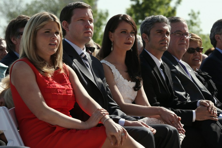 (L-R) George W. Bush's daughter Jenna Bush Hager, her husband Henry Hager, sister Barbara Bush, Miky Fabrega, former Governor of Florida Jeb Bush, and his wife Columba Bush attend the opening ceremony of the George W. Bush Presidential Center. (Alex Wong/Getty Images)