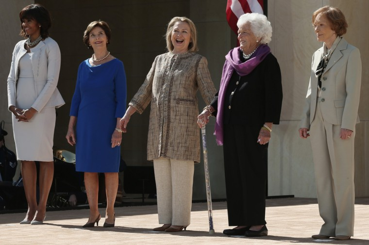 L-R) First lady Michelle Obama, former first lady Laura Bush, former first lady Hillary Clinton, former first lady Barbara Bush and former first lady Rosalynn Carter attend the opening ceremony of the George W. Bush Presidential Center. (Alex Wong/Getty Images)