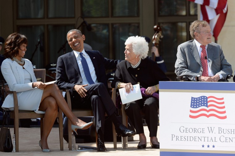 (L-R) First lady Michelle Obama, U.S. President Barack Obama, former first lady Barbara Bush and former President George H.W. Bush attend the opening ceremony of the George W. Bush Presidential Center. (Kevork Djansezian/Getty Images)