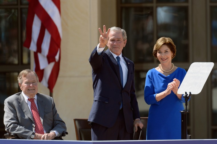 L-R) Former President George H.W. Bush, former President George W. Bush and former first lady Laura Bush attend the opening ceremony of the George W. Bush Presidential Center. (Kevork Djansezian/Getty Images)