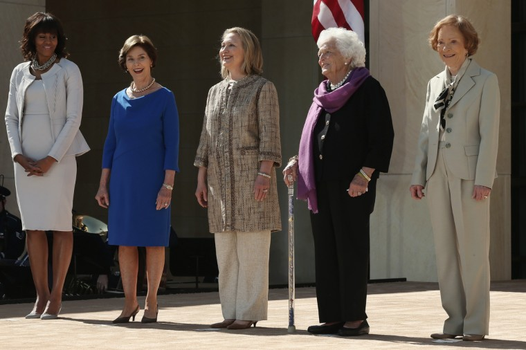 (L-R) First lady Michelle Obama, former first lady Laura Bush, former first lady Hillary Clinton, former first lady Barbara Bush and former first lady Rosalynn Carter attend the opening ceremony of the George W. Bush Presidential Center in Dallas, Texas. (Alex Wong/Getty Images)
